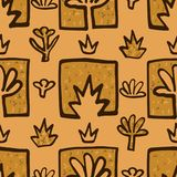Floral seamless pattern background. Golden flowers. Abstract fabric. Vector illustration Stock Images