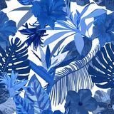 Floral seamless pattern. Background with isolated blue hand draw. N tropical flowers and leaves on white background. Design for invitation, prints and cards Royalty Free Stock Photography