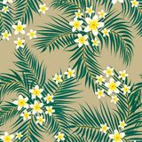 Floral seamless pattern. Background with isolated colorful hand. Drawn tropical flowers and leaves. Design for invitation, prints and cards. Vector illustration Royalty Free Stock Image
