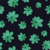 Floral seamless pattern. Background with isolated green hand dra. Wn tropical leaves on black background. Design for invitation, prints and cards. Vector Stock Photos