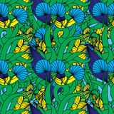Floral seamless pattern background with leaves. Stock Image