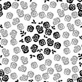 Floral seamless pattern background with roses and leaves. Trendy. Freehand drawing illustration Royalty Free Stock Photos