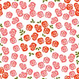 Floral seamless pattern background with roses and leaves. Trendy. Freehand drawing illustration Stock Photos