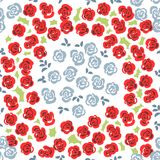 Floral seamless pattern background with roses and leaves. Trendy. Freehand drawing illustration Stock Photo