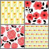 Floral Seamless Pattern Background Set Vector Stock Image