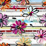 Floral seamless pattern background, with stripes, paint strokes. And splashes royalty free illustration