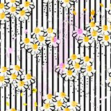 Floral seamless pattern background, with stripes, paint strokes. And splashes, black and white royalty free illustration