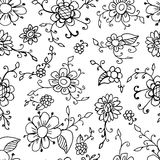 Floral seamless pattern background. Vector beautiful plant. Black and white flower. Vintage decor. Royalty Free Stock Image