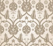 Floral seamless pattern background. Vector seamless beige reflection floral pattern background stock illustration