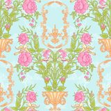 Floral seamless pattern, background with vintage style flowers   Stock Image