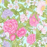 Floral seamless pattern, background with vintage style flowers Stock Images