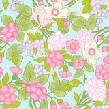 Floral seamless pattern, background with vintage style flowers Stock Photo