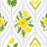 Floral seamless pattern. Beautiful yellow flowers, green leaves on the white and grey ikat background. Floral seamless pattern. Romantic vector illustration Stock Photography