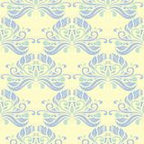 Floral seamless pattern. Beige background with light blue and green flower elements. For wallpapers, textile and fabrics Royalty Free Stock Photos