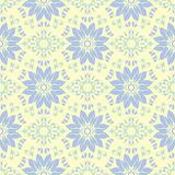 Floral seamless pattern. Beige background with light blue and green flower elements. For wallpapers, textile and fabrics Stock Photography