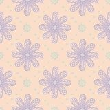 Floral seamless pattern. Beige background with violet and blue flower elements. For wallpapers, textile and fabrics Stock Photo