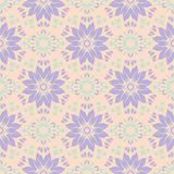 Floral seamless pattern. Beige background with violet and blue flower elements. For wallpapers, textile and fabrics Royalty Free Stock Images