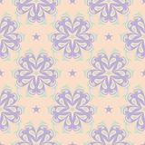 Floral seamless pattern. Beige background with violet and blue flower elements. For wallpapers, textile and fabrics Stock Photography