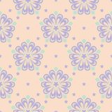 Floral seamless pattern. Beige background with violet and blue flower elements. For wallpapers, textile and fabrics Royalty Free Stock Photos