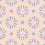 Floral seamless pattern. Beige background with violet and blue flower elements. For wallpapers, textile and fabrics Royalty Free Stock Photography
