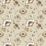 Floral seamless pattern in beige color Royalty Free Stock Photo