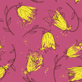 Floral seamless pattern with bell flowers Stock Photos