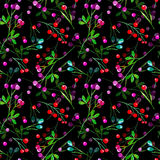 Floral seamless pattern of a berry. Royalty Free Stock Photo
