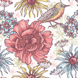 Floral seamless pattern with bird Stock Image