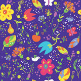 Floral seamless pattern with bird Stock Images