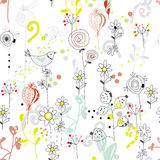 Floral seamless pattern with bird sketch Stock Photo