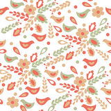Floral seamless pattern with birds Royalty Free Stock Photography