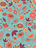 Floral seamless pattern with birds. Floral seamless pattern in warm color palette Royalty Free Stock Photo