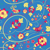 Floral seamless pattern with birds on blue Royalty Free Stock Photography