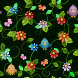 Floral seamless pattern with birds. Royalty Free Stock Photos
