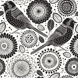Floral seamless pattern with birds. Cartoon  background. B Stock Image
