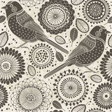 Floral seamless pattern with birds. Cartoon  background. Stock Photos