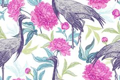 Floral seamless pattern with birds cranes and leaves and flowers. Birds cranes on background of leaves and flowers of peonies. Floral seamless pattern for design stock illustration