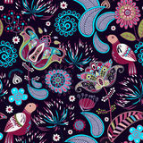 Floral seamless pattern with birds Royalty Free Stock Images