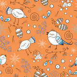 Floral seamless pattern with birds in the forest. Hand drawn birds and plants. Vector pattern for kids. Colorful orange background Royalty Free Stock Photo