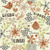 Floral seamless pattern with birds in vector Stock Images