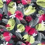 Floral seamless pattern on black background. Stock Photography