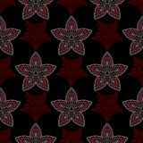 Floral seamless pattern. Black red and white background for wallpapers, textile and fabrics.  Royalty Free Stock Photography