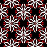 Floral seamless pattern. Black red and white background for wallpapers, textile and fabrics. Floral seamless pattern. Black red and white background for Stock Photos