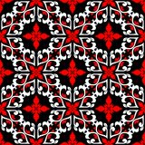 Floral seamless pattern. Black, and white background for wallpapers, textile and fabrics. Floral seamless pattern. Black red and white background for wallpapers Royalty Free Stock Photo