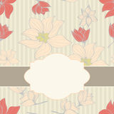Floral seamless pattern with blank cartouche Royalty Free Stock Photos