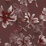 Floral seamless pattern with blooming flowers Royalty Free Stock Images
