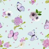 Floral Seamless Pattern with Blooming Hydrangea Flowers and Flying Butterflies in Watercolor Style. Beauty in Nature. Background. For Fabric, Textile, Print and vector illustration