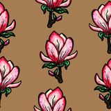 Floral seamless pattern. Blooming magnolia on a brown background. Print for fabric and other surfaces. Raster illustration royalty free illustration