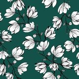 Floral seamless pattern. Blooming magnolia on a green background. Print for fabric and other surfaces. Raster illustration. Wallpaper, flower, design, spring royalty free illustration