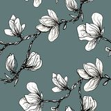 Floral seamless pattern. Blooming magnolia on a grey background. Print for fabric and other surfaces. Raster illustration. Wallpaper, flower, design, spring vector illustration